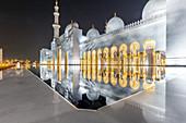 The mirrored Sheikh Zayid Mosque in Abu Dhabi, UAE