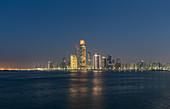 The illuminated skyline of Abu Dhabi, UAE