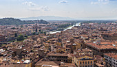 Cityscape and view of the Arno river in Florence, Italy