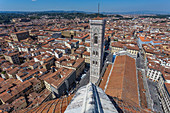 View of the city from the dome of the Duomo in Florence, Italy