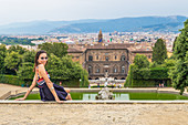 Tourist in the Boboli Gardens in Florence, Italy