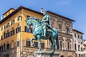 Equestrian statue of Cosimo de Medici in Florence, Italy