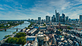 View of the city skyline from the observation deck of the Imperial Cathedral in Frankfurt, Germany