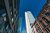 Looking up in the banking district of Frankfurt, Germany