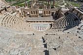Top view of a Roman theater in Jerash, Jordan