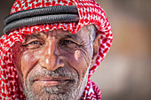 Portrait of a shepherd in the hills of Shoubak in Jordan