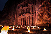 Breathtaking view of the more than 2,000 year old treasure house in the old Nabataean city of Petra in Jordan