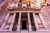 View of the so-called treasure house, the most famous building in the old Nabataean city of Petra in Jordan