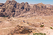 View from the high sacrifice place to the valley and the mountains around Petra, Jordan
