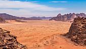 Top view of Wadi Rum in Jordan