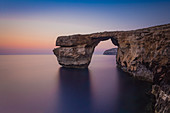 The Azure Window on Gozo just after sunset, San Lawrenz, Malta