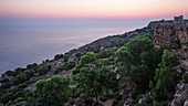 Sunset over the Dingli Cliffs on the coast of Malta