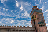 Tower in the medina just before sunset in Marrakech, Morocco