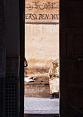 View from inside the Medersa Ben Youssef to the streets of Marrakech, Morocco