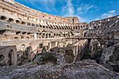 The remains of the Colosseum in Rome, Italy