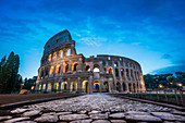 Early morning in front of the Colosseum in Rome, Italy