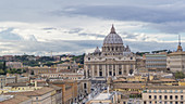 View from the roof of Castel Sant'Angelo to St. Peter's Basilica in the Vatican, Rome, Italy