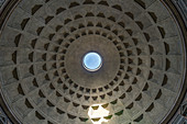 View of the dome of the Pantheon in Rome, Italy