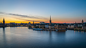 Panoramic view of the city during sun rush in Stockholm, Sweden