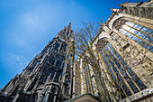 View to the top of St. Stephen's Cathedral in Vienna, Austria