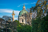 View of the dome of the Karlskirche in Vienna, Austria