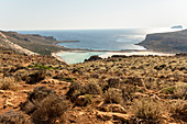 View of Balos lagoon from stony footpath, northwest Crete, Greece