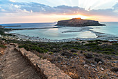View of sunset over Balos lagoon in the evening, northwest Crete, Greece