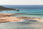 View of busy lagoon and beach at Balos, northwest Crete, Greece