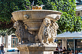 Morosini Fountain (Lion Fountain) in Heraklion Old Town, North Crete, Greece
