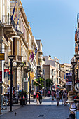Pedestrian zone 25is Avgoustou, old town of Heraklion, north Crete, Greece