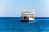 Incoming ferry at Samaria Gorge in Agia Roumeli, West Crete, Greece