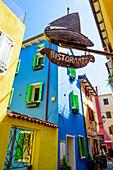 Colorful house facades in Caorle, Veneto, Italy