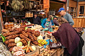 Bundles of seaweed are sold alongside vegetables at the market in Ancud, Chiloe Island, Los Lagos, Patagonia, Chile, South America