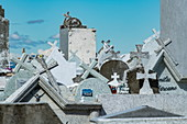 View of somewhat chaotic crosses in the crowded cemetery, Punta Arenas, Magallanes y de la Antartica Chilena, Patagonia, Chile, South America
