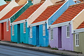 Colorful houses on a steep hill, in the Pietermaai district, Willemstad, Curacao, Netherlands Antilles, Caribbean