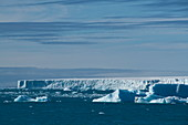 A scene of loose icebergs and the tongue of the Austfonna ice cap under a partly cloudy sky, Brasvellbreena, Nordaustlandet, Spitsbergen, Norway, Europe