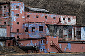 Detail of a dilapidated building on the edge of the former mining town of Pyramiden, Billefjord, Spitsbergen, Norway, Europe