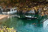 Fischerboot im türkisen Wasser vor Skiathos, Griechenland