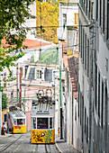 The Elevador da Gloria funicular that connects the Baixa and Bairro Alto neighborhoods, Lisbon, Portugal