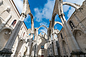 The nave of the Igreja do Carmo destroyed in the 1755 earthquake in Lisbon, Portugal