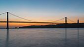 The Ponte 25 de Abril just before sunrise, Lisbon, Portugal