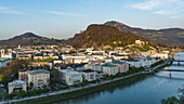 View from the Mönchsberg over the city of Salzburg, Austria