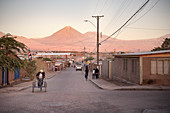 Street scene in San Pedro de Atacama, view to Licancabur volcano in the Cordillera Occidental, Atacama Desert, Antofagasta Region, Chile, South America