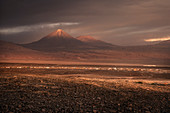 Panoramic view of San Pedro de Atacama with Licancabur volcano in the Cordillera Occidental,, Atacama Desert, Antofagasta Region, Chile, South America