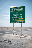 Shield indicates southern tropic (Trópico de Capricornio), Atacama Desert, Antofagasta Region, Chile, South America