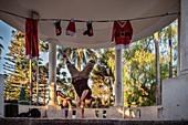 B-Boy (Breakdance) am Plaza de Armas, Santa Cruz, Colchagua Tal (Weinanbau Gebiet), Chile, Südamerika