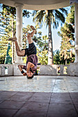 B-Boy (break dance) at Plaza de Armas, Santa Cruz, Colchagua Valley (wine growing area), Chile, South America