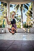 B-Boy (break dance) at Plaza de Armas, Santa Cruz, Colchagua Valley (wine growing area), Chile, South America