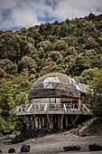 """the stylish Cafe """"Cavernas Volcan Osorno"""", Region de los Lagos, Chile, South America"""