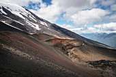 Detail of the volcanic landscape on the Osorno, Region de los Lagos, Chile, South America